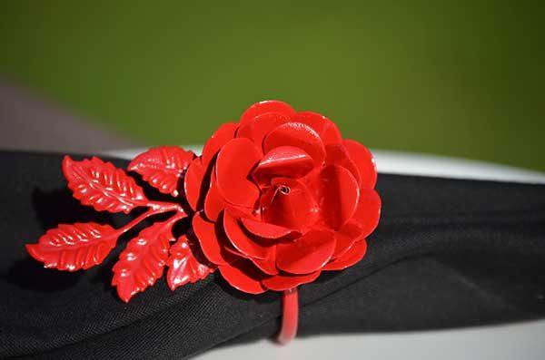 napkin rings red rose set of 4