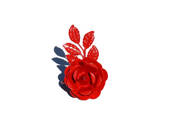 napkin rings red rose single